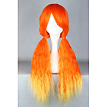 Lolita Wigs Sweet Lolita Color Gradient Long Orange Lolita Wig 70 CM Cosplay Wigs Patchwork Wig For Women