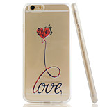 LOVE Embossment Dull Polish Side + Transparent TPU Soft Phone Case for iPhone 6/6S