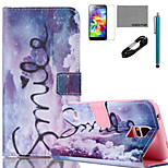 COCO FUN® Purple Dream Pattern PU Leather Case with V8 USB Cable, Flim, Stylus and Stand for Samsung Galaxy S5 I9600