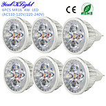 YouOKLight® 6PCS MR16 4W 320lm 3000K 4-High Power LED Warm White Light Spotlight - Silver(DC12V)