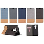 No Tape Around Open Canvas Grain Leather Card Holder for LG V10(Assorted Colors)