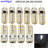 YouOKlight® 10PCS G4 2W 150lm 6000K 24*SMD3014 LED Corn Crystal Lamp Bead (AC 220V)- Environmental protection silicone