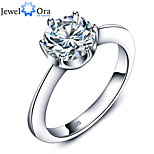 Classic Wedding Accessories 925 Sterling Silver 8mm White Cubic Zirconia Rings For Women
