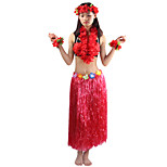 80cm Adults' Fire-Proof Double Layers Hawaiian Carnival Hula Dress Wristbands Necklace Bra and Headpiece