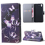 Purple Butterfly PU Magnetic Leather wallet Flip Stand Case cover for Huawei Honor 4A / Y6