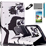 COCO FUN® Flower Girl Pattern PU Leather Case Cable Flim Stylus and Stand for Samsung Galaxy S4/S4 MINI/S5/S5 MINI