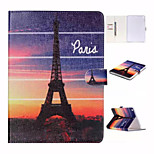 Evening The Eiffel Tower in Paris Pattern or and TPU Textile Cloth Card Slot Stents The Cladding For Apple iPad Mini 4