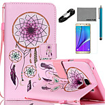 COCO FUN® Pink Windbell Pattern PU Leather Case with V8 USB Cable, Flim and Stylus for Samsung Galaxy Note 5