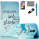 COCO FUN® Green Word Pattern PU Leather Case with V8 USB Cable, Flim, Stylus and Stand for Samsung Galaxy S5 I9600
