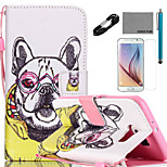 COCO FUN® Noble Dog Pattern PU Leather Case with V8 USB Cable Film and Stylus for Samsung Galaxy S6/S6 EDGE/S6 EDGE PLUS