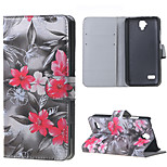 Red Flowers Magnetic PU Leather wallet Flip Stand Cover Case For Huawei Ascend Y5/y560