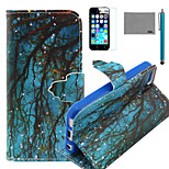 LEXY® Blue Grounding Branch Pattern PU Full Body Leather Case with Screen Protector and Stylus for iPhone 5C