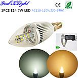 YouOKLight® 1PCS E14 7W 500lm 3500/6500K 28*SMD2835 Super brightness  High quality LED Candle light AC110-120V/220-240V