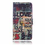 Black Letter Pattern  PU Leather Material Suction Buckle Card Holder  Phone Case for Huawei P8 Lite