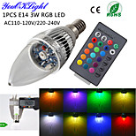 YouOKLight® E14 3W Remote Controlled LED Candle Bulb Colorful Light 240lm - Silver (AC 110-120V/220-240V)