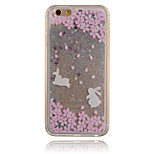 Silver Cherry Rabbit Pattern PC Material Stereoscopic Stars Quicksand Phone Case for iPhone 6 / 6S