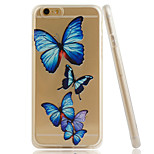 Butterfly Embossment Dull Polish Side + Transparent TPU Soft Phone Case for iPhone 6/6S