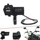 12V-24V Waterproof Motorcycle Car Dual USB Charger with LED Digital Voltmeter Handbar Mount