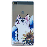 Kitty Embossment Dull Polish Frame + Transparent TPU Soft Phone Case for Huawei P8/P8 Lite
