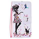 Woman Cat  Painted PU Phone Case for Huawei P8 Lite/P8