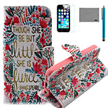 LEXY® Little Flower Pattern PU Full Body Leather Case with Screen Protector and Stylus for iPhone 5C