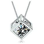Love rubik's cube pendant Female silver ornament square window love South Korea Han edition necklace