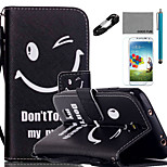 COCO FUN® Smile Face Pattern PU Leather Case Cable Flim Stylus and Stand for Samsung Galaxy S4/S4 MINI/S5/S5 MINI