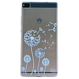 Dandelion Embossment Dull Polish Frame + Transparent TPU Soft Phone Case for Huawei P8/P8 Lite