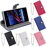 Inlay Rhinestone Design PU Texture Smart Cover Case for SONY Xperia Z1 L39h(Assorted Color)