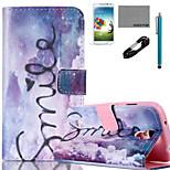 Coco Fun® patrón de sueño púrpura pu estuche de cuero flim cable y lápiz para Samsung Galaxy S4 Mini / S4 / S5 / s5 Mini / s6 / borde s6