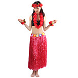 80cm Adults' Fire-Proof Double Layers Hawaiian Carnival Hula Dress Wristbands Necklace and Headpiece