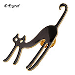 D Exceed New Arrival Black Cartoon Cat Brooch For Girl Acrylic Broches Fashion Accessories Light Weight Cheap