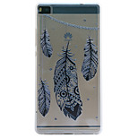 Feather Embossment Dull Polish Frame + Transparent TPU Soft Phone Case for Huawei P8/P8 Lite