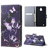 Purple Butterfly Magnetic Leather wallet Flip Stand Case cover for Nokia Microsoft Lumia 850