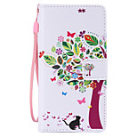 Cat and Tree Painted PU Phone Case for Huawei P8 Lite/P8