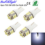 YouOKLight® 4PCS T10 2W 200lm 24-SMD1206  6000K  White LED Car Bulb Light(DC12V)