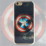 Captain America Shield Pattern Black Gold Plated High-Grade TPU Phone Case for iPhone 6/6S