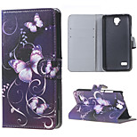 Purple Butterfly Magnetic PU Leather wallet Flip Stand Cover Case For Huawei Ascend Y5/y560