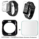 Fashionable TPU Soft Back Case Cover and Tempered Glass Screen Protector for iWatch 38mm/42mm