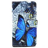 Blue butterfly  Pattern PU Leather Stand Card Slot Case for LG Bello D337