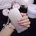 3D Mickey Mouse Rhinestone Ears Soft Transparent TPU Protect Phone Covers Case iPhone 6 4.7