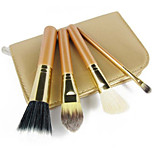 4pcs Makeup Brush Set Professional Wood Handle Premium Synthetic Kabuki Foundation Blending Cosmetics  Brushes Kit