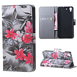Red Flowers PU Magnetic Leather wallet Flip Stand Case cover for Huawei Honor 4A / Y6