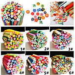 50 Pcs/Set 3D Nail Art Fimo Canes Stick Rods Polymer Clay Stickers Decora Beauty