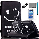 COCO FUN® Smile face Pattern PU Leather Case with V8 USB Cable, Flim and Stylus for Samsung Galaxy S4 MINI i9190