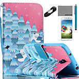 COCO FUN® Snow Forest Pattern PU Leather Case Cable Flim Stylus and Stand for Samsung Galaxy S4/S4 MINI/S5/S5 MINI
