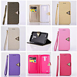 Diamond Design Leather Flip Stand Wallet Wrist Strap Rope Cover Case For LG G3 (Assorted Color)