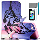 LEXY® Sunset Wind-Bell Pattern PU Full Body Leather Case with Screen Protector and Stylus for iPhone 5C