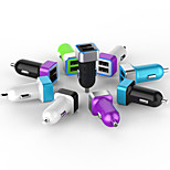 Private Design 3.4A Dual USB Car Charger with Aluminum Ring and Blue LED Light