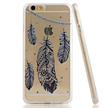 Feather Embossment Dull Polish Side + Transparent TPU Soft Phone Case for iPhone 6/6S